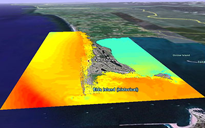 Computer modeled tsunami inundation from a great Cascadia Subduction Zone earthquake for the coastal community of Ocean Shores, WA. Credit: NOAA Center for Tsunami Research