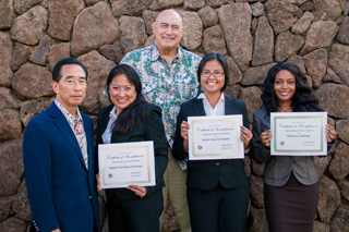 UH West O'ahu award-winning students with Franklin T. Kudo and Chancellor Rockne Freitas