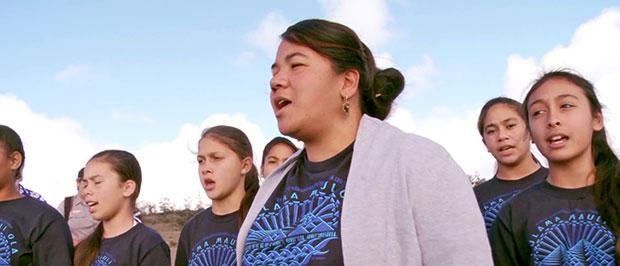 Pele Harmon is a teacher at Ke Kula ʻO Nāwahīokalaniʻōpuʻu, UH Hilo's Hawaiian language immersion school for elementary and high school students.