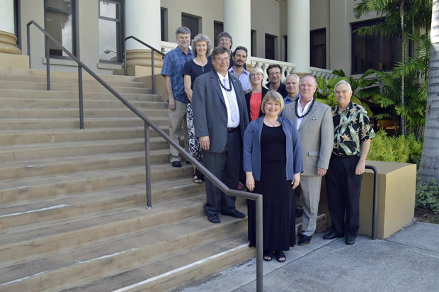 UH Mānoa and Fulbright Canada officials in front of Hawaiʻi Hall