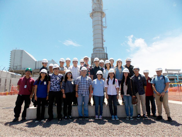 student group on location at Hawaii Electric plant