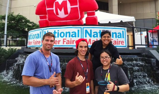 UH community college students participate in National Maker Faire. From left to right: Patrick Sundahl, Bayan Kelly, Geena Waan-Kung (bottom), Jasmine Hoapili (top)