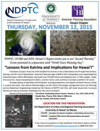 flyer for Lessons from Katrina event