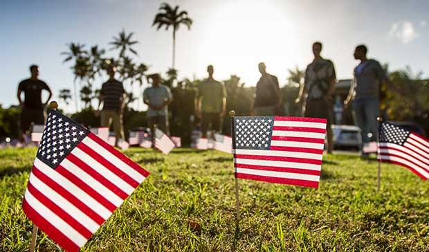 veterans day commemoration US flag planting