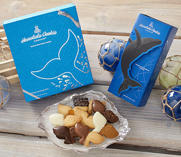 Honolulu Cookie Company whale cookies and box