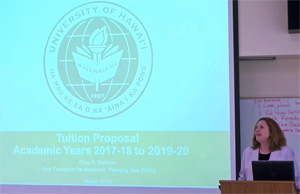 Risa Dickson at tuition meeting