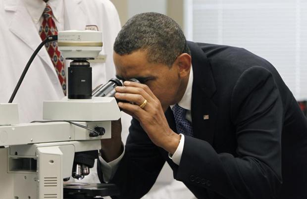 President Barack Obama at the National Institute of Health. (AP Photo/Gerald Herbert)