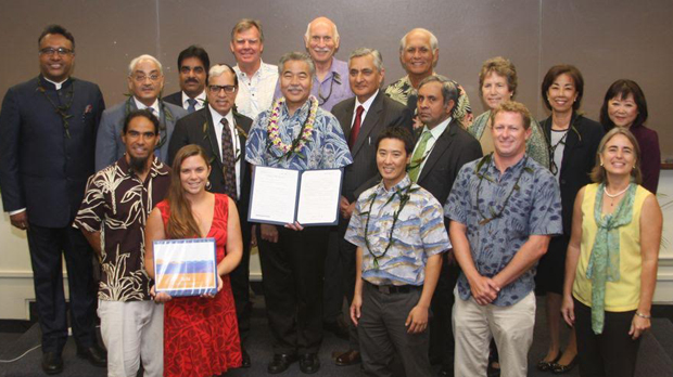 Governor David Ige (center) with guest speakers from India and Hawaii government officials