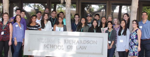 The high school participants with their law student coaches