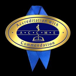 ACCME Accreditation with Commendation pin and ribbon