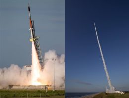 Two views of a rocket launch