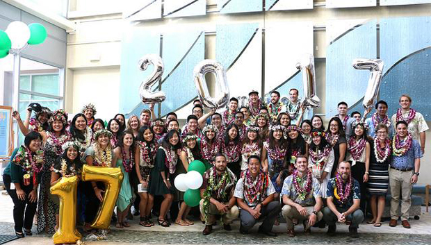 group of people with lei and balloon numbers 2017