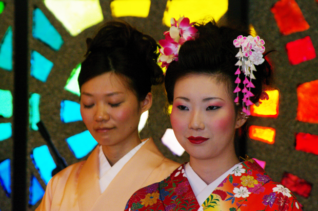 Students dressed in cultural Japanese attire