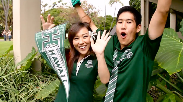 Two happy UH Manoa students