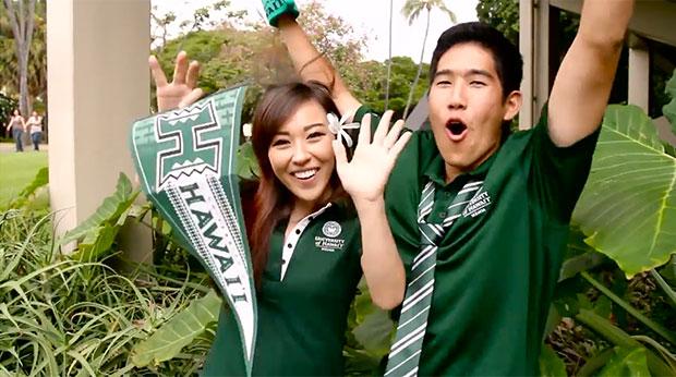 Two happy U H Mānoa students