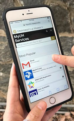 Mobile phone with MyUH on the screen