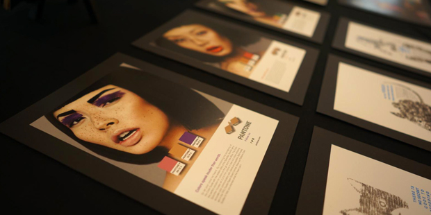 Image of a womanʻs face from art portfolio show