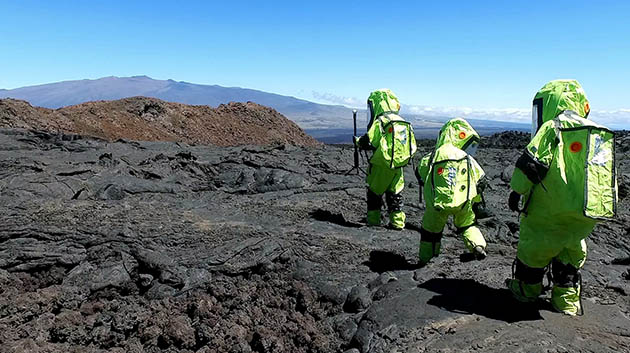HI-SEAS Participants In Space Suits On Mauna Loa