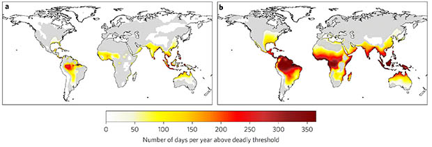 Two maps of the world comparing days per year with temperatures above deadly threshold