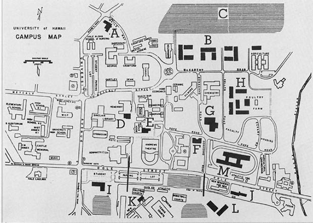 1957 map of the UH Mānoa campus