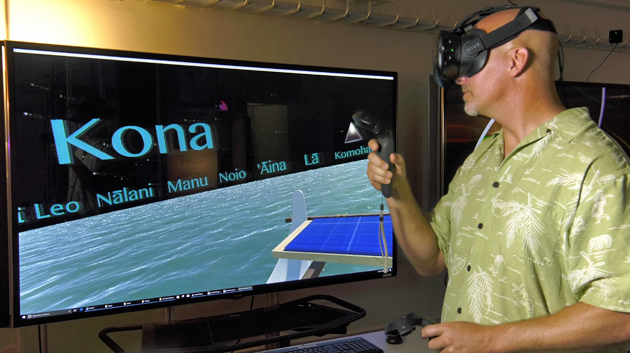 Person Using Remote To Sail On The Virtual Hokulea