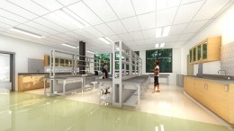 Rendering of a lab space in the Life Sciences building