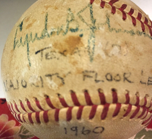 baseball with Lyndon B. Johnson signature