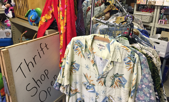 Thrift Shop merchandise including aloha shirts