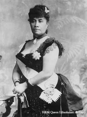 Liliuokalani black and white portrait photo wearing black dress