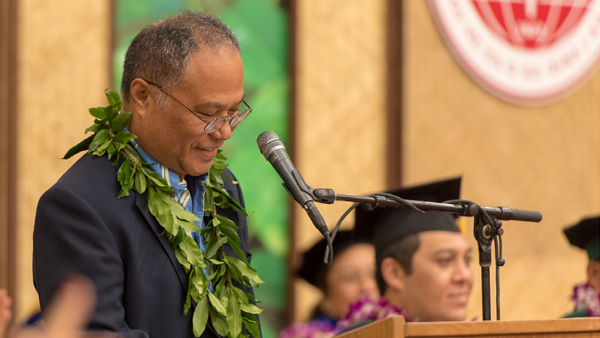 Chad Kālepa Baybayan delivered the UH Hilo commencement address