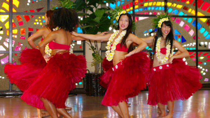 hula dancers performing