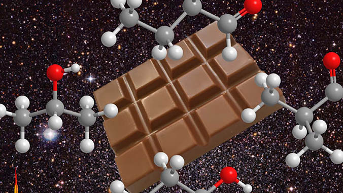 Illustration of chocolate and molecules on a space background