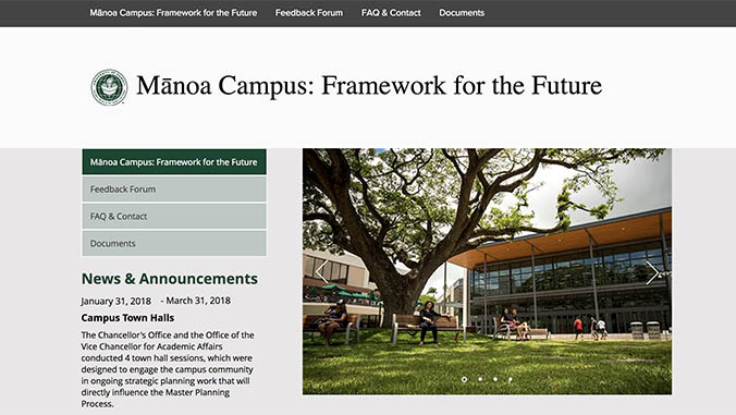 Screenshot of the Manoa Campus: Framework for the Future website