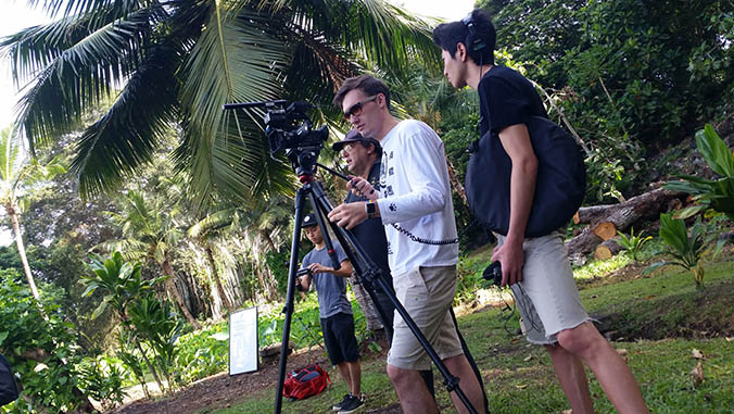 Film students shooting outside