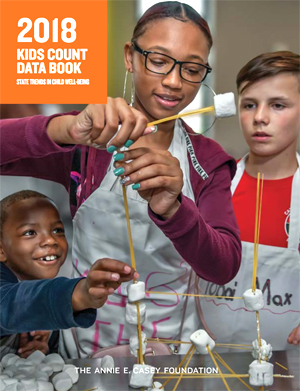 cover of Kids Count Data book with 3 kids building with marshmallows and sticks