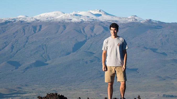 Raiatea Arcuri standing in front of Maunakea