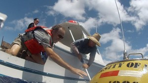 Two researchers reaching for a buoy off a boat