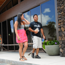 2 students walking at the Hawaii C C Palamanui campus