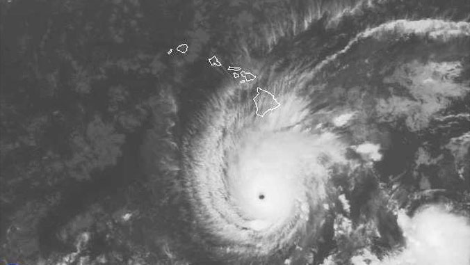 photo of Hurricane Lane near Hawaii on a map