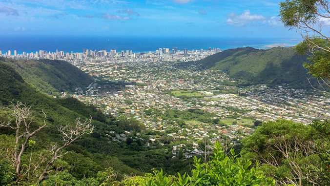Mānoa Valley and Waikiki, downtown Honolulu, and the ocean in the distance
