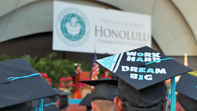 "commencement cap with words ""work hard, dream big"" on it"