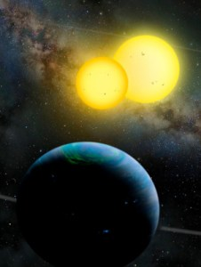 artist's rendition of a planet with two suns
