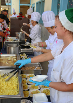 culinary students serving food