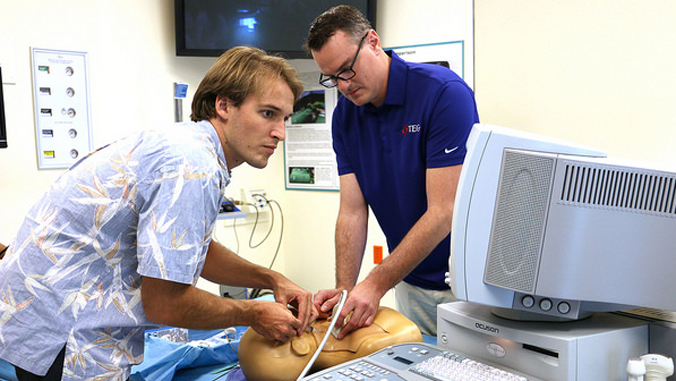 medical students training in emergency room