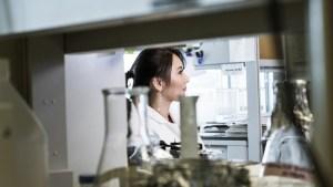 Ruth Taketa in the laboratory.