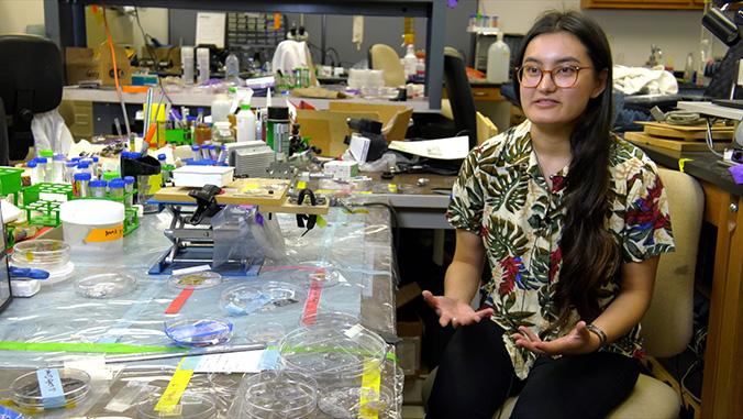 Sandra Yamada in the lab