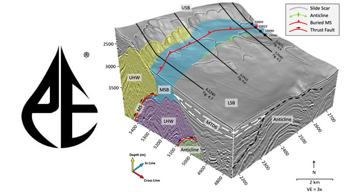 Graphic of three-dimensional seismic data from Nankai Trough and Petroleum Experts logo