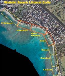 Map of properties along Waikīkī Beach