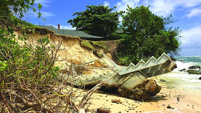 Property damage on the beach