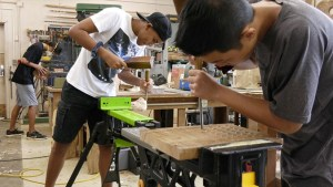 Students in woodworking class